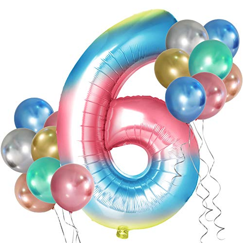 Simpeak Globo Número 6, Globo de Cumpleaños Niño 6 años + 24 Globos Multicolores + 1 Rollo de Cinta Láser Plateado + 1 Pajita, Set Globos Decoración para Fiesta Cumpleaños Party