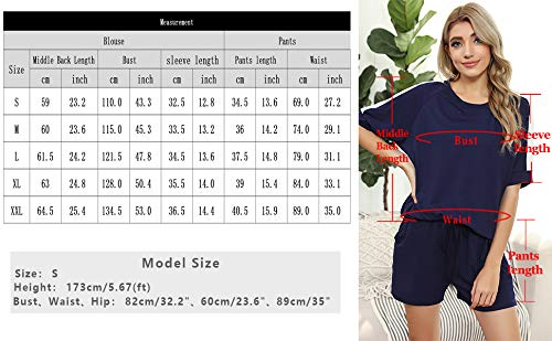 Irevial Women Casual Tracksuits Short 2 Piece Loungewear Sets Short Sleeve Pullover Sets Short Sweatpants with Pockets Set