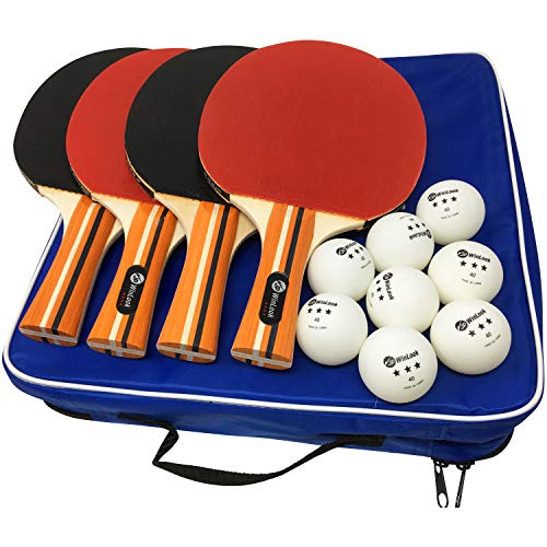 JP WinLook Ping Pong Paddle - 4 Pack; Pro Premium Patent Table Tennis Racket Set; 8 Professional Game Balls; Training Accessories Racquet Bat Bundle Kit; Portable Cover Case; Indoor Outdoor
