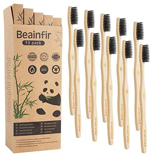 Bambus Zahnbürsten, Beainfir 10 Pcs Holzzahnbürste Bambuszahnbürste Nachhaltige Holzzahnbürst mit umweltfreundlicher Packung des Papiers gan Bambuszahnbürste Set, holz zahnbürste
