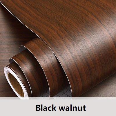 PVC Vinyl Holzmaserung Kontakt Papier Für Küchenschränke Shelf Liner Kleiderschrank Tür Aufkleber Wasserdicht Selbstklebende Tapete-in Tapeten Von Heimwerker Schwarz walnuss 60 cm X 5 mt