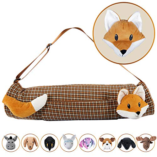 YogaPets Full Zip Exercise Cute Yoga Mat Tote Bag with Plush Animal Design| Medium/Large Mat Carrier with Strap amp Side Pocket | Fits Most Size Mats Cute Fox