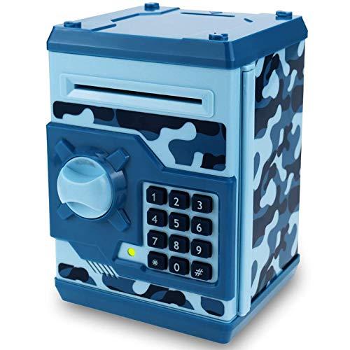 Qwifyu - Hucha para niños, con bloqueo electrónico, con papel de desplazamiento automático, dinero y monedas, el mejor juguete de regalo para niños y niñas (azul camuflaje)