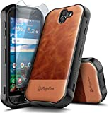 E-Began Case for Kyocera Duraforce Pro 2 with Tempered Glass Screen Protector, Premium Cowhide Leather Hybrid Defender Shockproof Durable Phone Case (E6900 E6910 E6920) -Brown