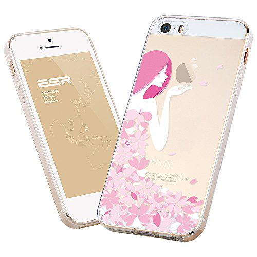 ESR iPhone 5 / 5S Hülle, Mania Series [0.8mm Superdünnen] Weiche Silikon Schutzhülle für iPhone 5S/5 (Blüte Mädchen)