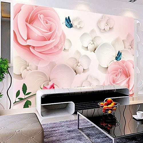 Dalxsh, fotobehang, op maat gemaakt, bloem, 3D stereo, roze, tv-achtergrond, wanddecoratie, thuis, muurschildering, woonkamer, schilderij, behang 250 x 175 cm.