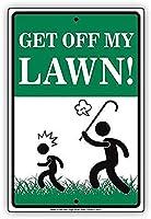 私の芝生の壁の金属のポスターを降りるレトロなプラークの警告ブリキの看板ヴィンテージの鉄の絵画の装飾オフィスの寝室のリビングルームクラブのための面白いハンギングクラフト
