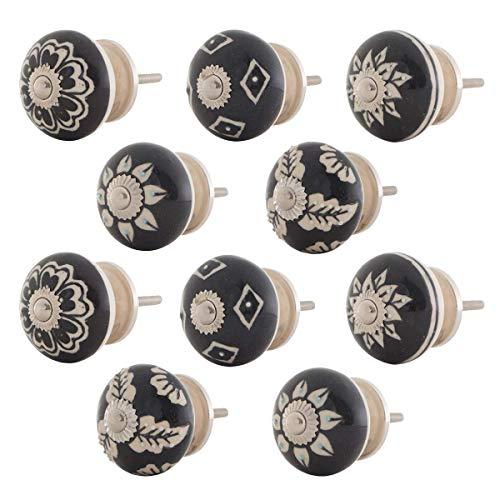 Knober Möbelknopf Keramik Porzellan Schwarz-Weiß handbemalt Landhausstil Shabby-Chic Kommodenknopf Kommodengriff (02. Mix-Set 10 Stück)