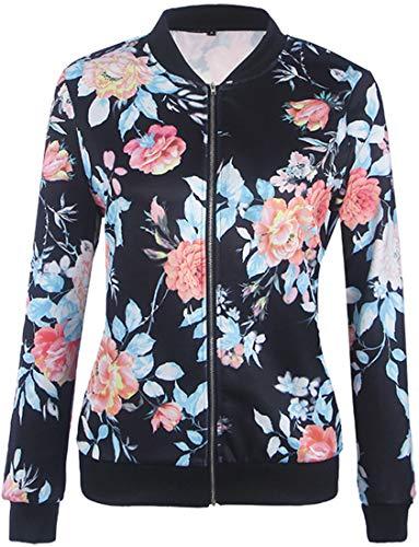 EUDOLAH Damen Blazer Strickjacke Sweatshirt mit Reissverschluss Streetwear Frühling Herbst Marineblau S