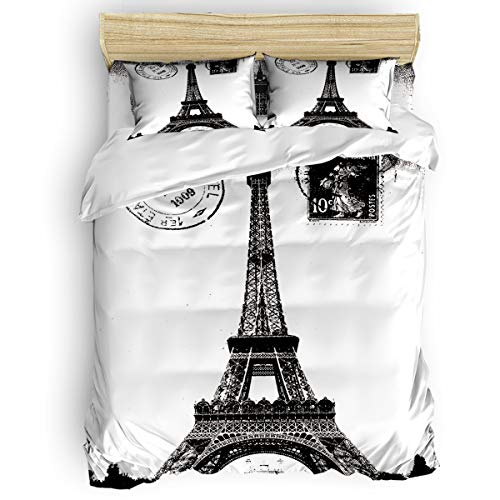4 Pieces Luxury Duvet Cover Set Retro Vintage Paris Eiffel Tower California King for Kids/Girl/Women/Adults Black White , Breathable Bedding Comforter Cover Sets with Zipper, 4 Corner Ties