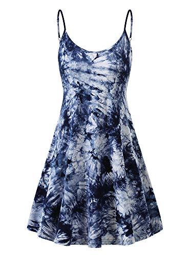 MSBASIC Beachtime Strandkleider Kurzes Kleid Damen Swing Kleid Dunkelblaue Krawattenfarbe Klein