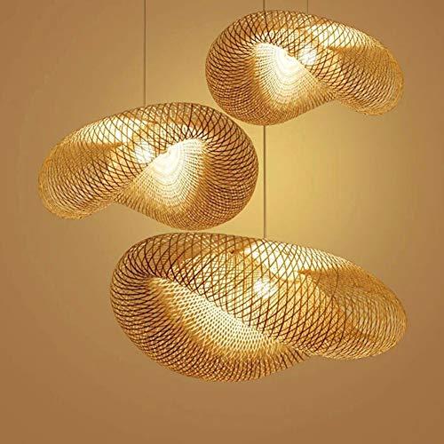 LIGHTS FACTORY Luz Hecha a Mano Moderna del Techo del Sombrero de Paja del Estilo de la Rota del bambú,50 * 25 * 20CM