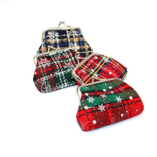 JTRHD Monedero de la Bolsa de Cambio 4pcs Estilo Navidad Monedero Monedero Monedero Monedero Monedero Retro Bolsa para Damas Mujer (Color : Multi-Colored, Size : 9x1x7cm)