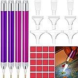4 Plumas de Taladro de Pintura de Diamante 5D con Luz LED Accesorios de Pintura de Diamante con 20 Arcilla de Pegamento de Pintura, 9 Cabezal de Plumas (Púrpura, Rosa Roja)