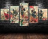 REWE Cuadro en la Pared Cartel Guerra Independencia-A_200 × 100CM Decoración hogareña Impresión de Lienzo 5 lienzos continuos Fotomural salón Imagen del Dormitorio murales enmarcados