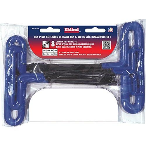 EKLIND 55168 Cushion Grip Hex T-Key allen wrench - 8pc set Metric MM sizes 2-10 (6In shaft)