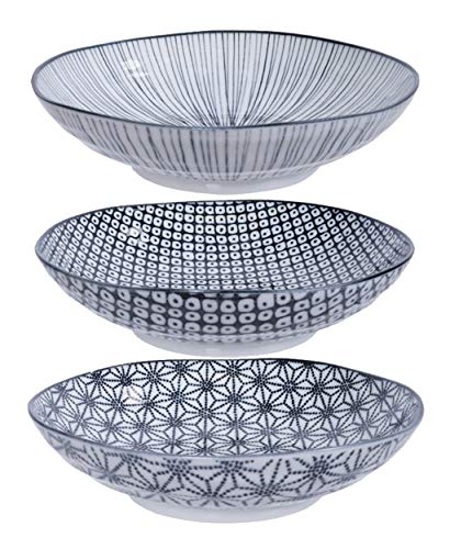 TOKYO design studio Nippon Black 3-er Pasta-Teller-Set schwarz-weiß, Ø 21 cm, ca. 5,3 cm hoch, asiatisches Porzellan, Japanisches Design mit geometrischen Mustern, auch als Suppen-Teller verwendbar
