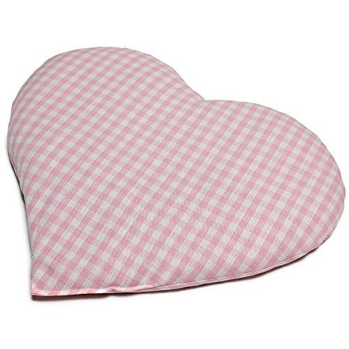 Kirschkernkissen Herz ca. 30x25cm - Bio Stoff rosa-weiß - Wärmekissen - Körnerkissen - Ein charmantes Geschenk
