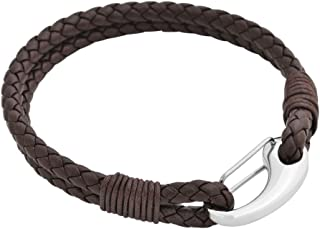 Edforce Braided Genuine Leather 2-Strand Cuff Bracelet with Stainless Steel Clasp