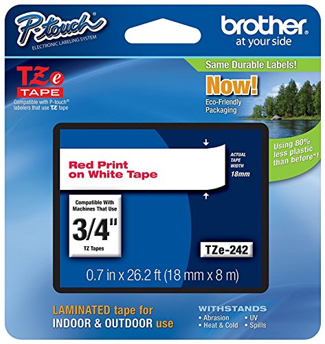 "Brother Genuine P-Touch TZE-242 Tape, 3/4"" (0.7 mm) Standard Laminated P-Touch Tape, Red on White, Laminated for Indoor or Outdoor Use, Water-Resistant, 26.2 ft (8 m), Single-Pack"