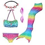 PTHTECHUS 3 Pezzi Ragazze Sirena Costume da Bagno Swimsuit Swimwear Bikini Set 3-12 Anni Ragazze con Testa Ghirlanda + Occhiali (110(3-4Y), GB04-Rainbow)