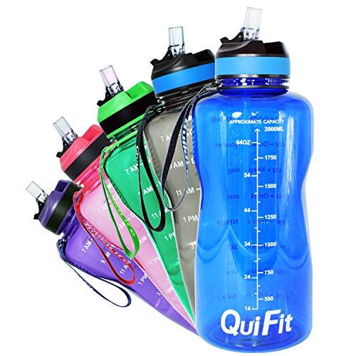 QuiFit 2L Blau Tritan Sportflasche Mit Strohhalm und aufgedruckter Trinkermutigung Große Drinkflasche Trinkflasche BPA-Frei