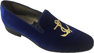 Mocassini Slippers in Velluto Blu con Ricamo Personalizzabili