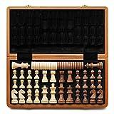 A&A Juego de ajedrez y damas de madera plegable de 15 'con piezas de ajedrez de altura King de 3' / 2 Piezas de ajedrez de madera de reina adicional / Incrustaciones de caoba, caoba y arce