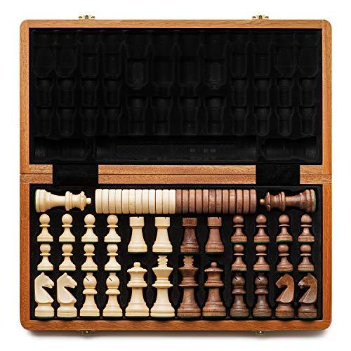 """A&A Juego de ajedrez y damas de madera plegable de 15 """"con piezas de ajedrez de altura King de 3"""" / 2 Piezas de ajedrez de madera de reina adicional / Incrustaciones de caoba, caoba y arce"""