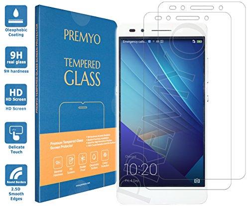 PREMYO 2 Stück Panzerglas Schutzglas Bildschirmschutzfolie Folie kompatibel für Honor 7 nur mit 5,2 Zoll Blasenfrei HD-Klar Gegen Kratzer Fingerabdrücke