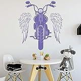 ASFGA Motorrad Vinyl Wandaufkleber Flügel Reiten Motorrad Rock Stil Tür und Fenster Aufkleber Teen Schlafzimmer Männer Höhle Garage Wohnkultur