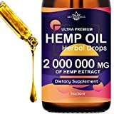 Hemp Oil Extract 2 000 000mg Immune System Support, Pain, Insomnia, Stress, Anxiety Relief, Natural Dietary Supplement, Premium Quality, Improve Health, Provides Relaxation, Deep Sleep, Mood Boost