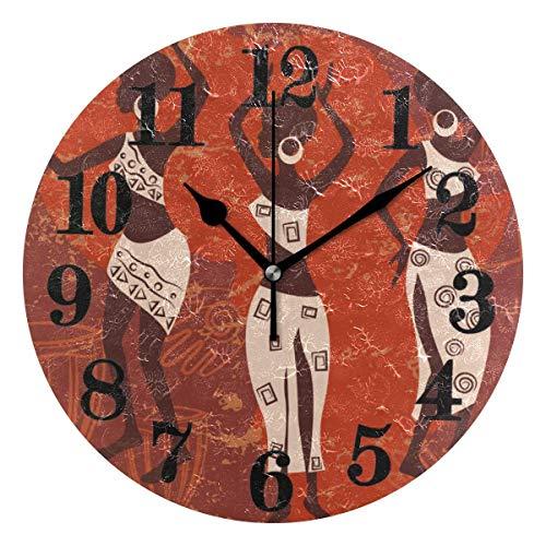 Mesllings Reloj de pared redondo para mujer, estilo étnico, de cuarzo, funciona con pilas, para decoración del hogar, sala de estar, dormitorio, oficina