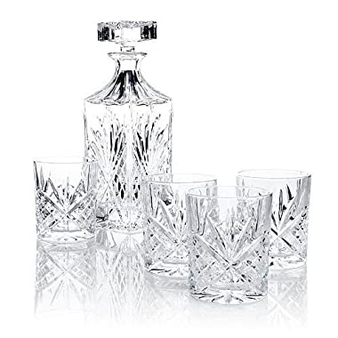 James Scott 5 PC crystal Bar Set, for Whiskey, Wine, and Liquor. This Irish Cut whiskey Set, includes a Decanter 750ml (with Full Glass Ground Stopper), and 4 x 8 oz. crystal DOF Glasses.