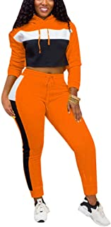 Mintsnow Women Causal Long Sleeve Crop Top Bodycon Pants Tracksuit Color Block 2 Piece Outfit