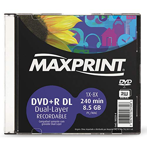 MÍDIA DVD+R Dual Layer Gravável MAXPRINT 8.5 GB - 240 MIN - 8X - Slim