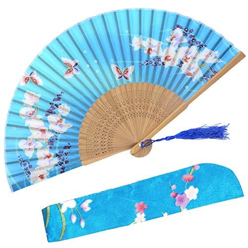 OMyTea - Ventaglio pieghevole in seta con telaio in bambù, con custodia in tessuto per protezione (WZS-33)
