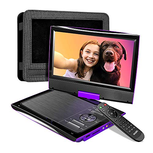 """SUNPIN 2021 New PD969 11"""" Portable DVD Player for Car with Headrest Mount, Upgraded Remote Control, 9.5 inch Brightness Enhanced Screen DVD Play, 5 Hours Battery, Dual Earphone Jack(Purple)"""