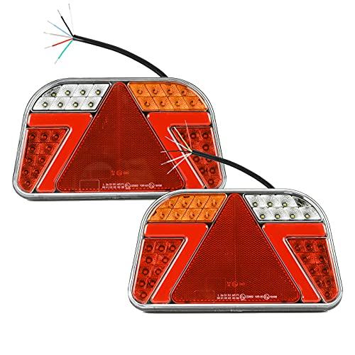 2 Pack Pilotos LED Remolque Homologados, 12V~24V Universal Luces Traseros para Coches, Piloto Traseras Impermeable para Camion, Caravana, Tractor, Portabicicleta, Vehículo Agrícola, Barco