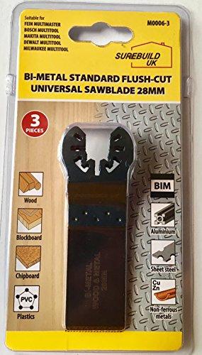 surebuild Reino Unido herramienta 28mm Bi-metal hoja de sierra de repuesto–Alicates de corte 3unidades, para metal, madera, plásticos, aglomerado–sbm0006–3