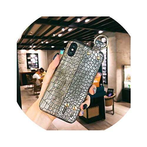 Luxury Green Sequins Crocodile Skin Case for iPhone X 7 8 Plus Xr Leather Hard Cover for iPhone Xs Max Case 7 6S Plus Wrist Band,4 Only Case,for iPhone 7