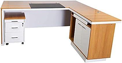 Mahmayi Zelda Modern Executive Desk, Writing Pad Finished - Matt Melamine Glass Modesty Panel - Brown/White