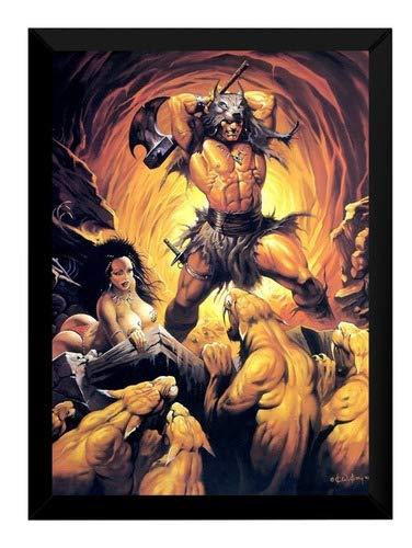 Quadro Pintura Ken Kelly Conan O Barbaro Tam Grande 42x29