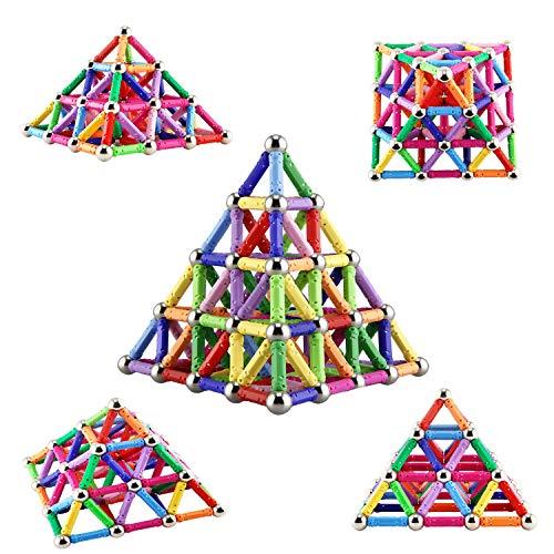 Veatree 206 Pezzi Puzzle Blocchi magnetici Giocattoli, Costruzione di Magnete Kit di Costruzione Giocattoli educativi per Bambini Che Giocano Gioco impilabile con Mattoni e Bastoncini magnetici