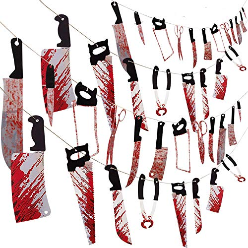 wide smile 4 Packs Halloween Bloody Weapon Garland Scary Halloween Decorations Bloody Garland Banners Fake Knife Props Supplies for Halloween Zombie Vampire Party Decor