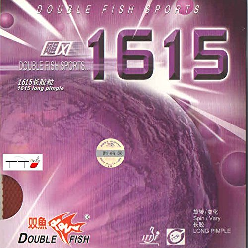 Find Bargain Double Fish Pips Long Table Tennis Rubber 1615 (Black)