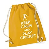 HippoWarehouse Keep Calm and Play Cricket Drawstring Cotton School Gym Kid Bag Sack 37cm x 46cm, 12 litres