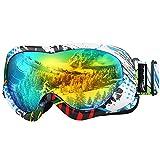 OutdoorMaster Niños Gafas de esquí- Casco Compatible con Gafas de Nieve para niños y niñas con 100% de protección UV(Patrón de Color Marco + VLT 13% Lente Gris con Oro REVO Completo)
