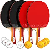 NIBIRU SPORT Ping Pong Paddle Set (4-Player Bundle), Pro Premium Rackets, 3 Star Balls, Portable...