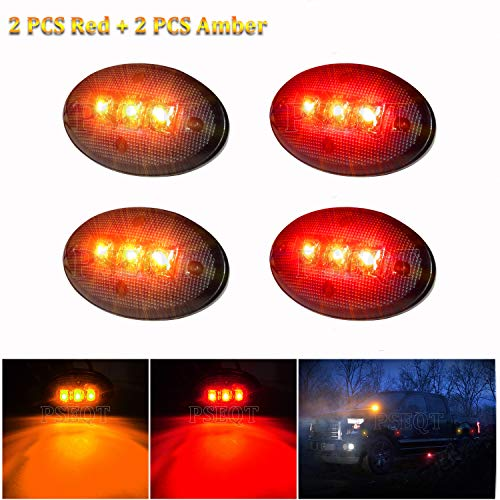 PSEQT Smoked Dually Bed Fender Side Marker LED Lights For Ford F350 F450 F550 (2PCS AMBER+2PCS Red)